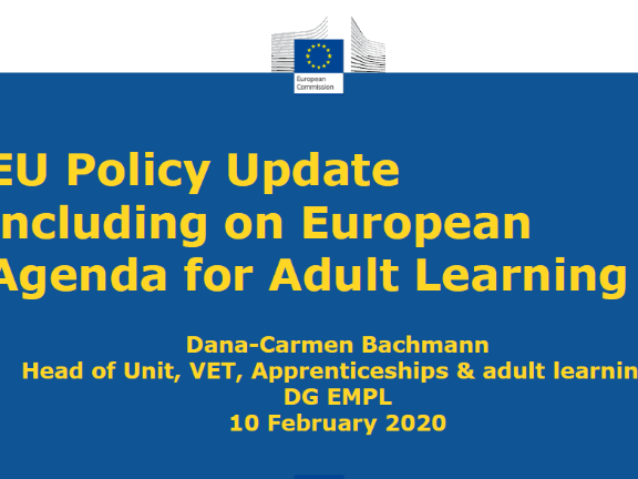 EU Policy Update including on European Agenda for Adult Learning